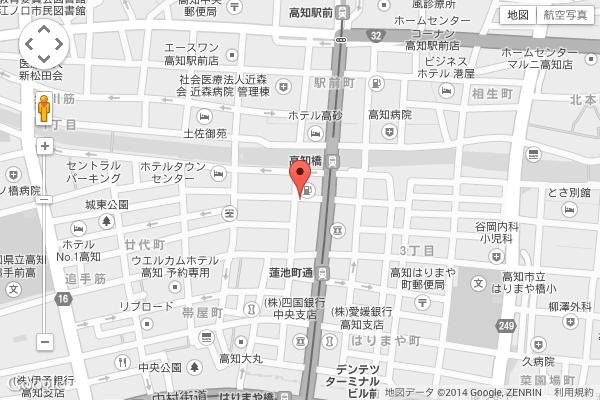 高知県高知市はりまや町 居酒屋「土佐料理 たたき亭」地図